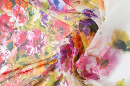 Silk fabric texture. flowers    Photography Studio