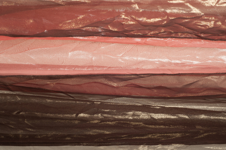 pink and brown: Pink brown transparent fabric. texture. robe.   Photographed in the studio