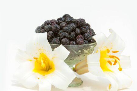 black raspberries: black raspberries. Stock Photo