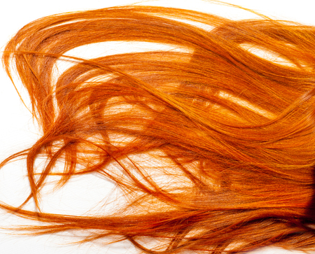 decomposed: foxy hair, carrots. Portrait of beautiful redhead girl with red lipstick on her lips. Beautiful girl with long shiny hair. Hair decomposed on a white floor Stock Photo