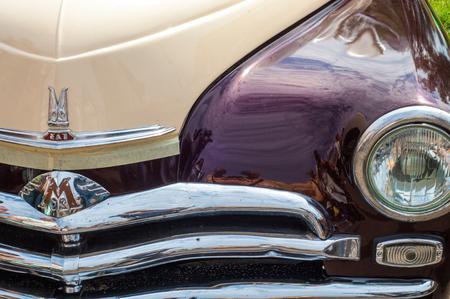 31.07 2015 Russia Tatarstan. Yelabuga, Spasskaya Fair. vintage car. Close up shot of a vintage car in sepia color tone