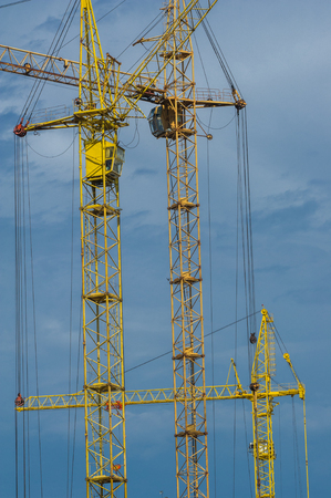 modular home: Construction of houses. Tower cranes