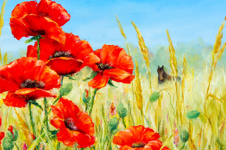 herbaceous plant: Texture, pattern, canvas painted in oils. The picture painted poppies in loschadi field. a herbaceous plant with showy flowers, milky sap, and rounded seed capsules