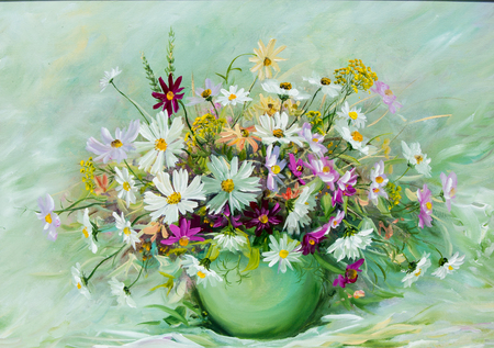 Texture, pattern, canvas painted in oils. It painted a picture of wild flowers collected in a bouquet. Wild flowers are in a vase. an attractively arranged bunch of flowers, Foto de archivo