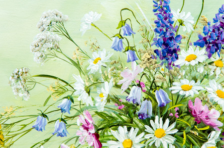 Texture, pattern, canvas painted in oils. It painted a picture of wild flowers collected in a bouquet. Wild flowers are in a vase. an attractively arranged bunch of flowers, Archivio Fotografico
