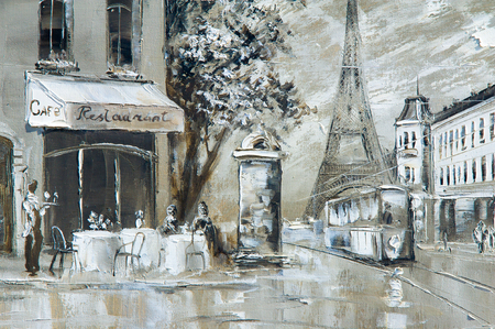 Texture, background. Painting on canvas painted with oil paints. The picture painted scenes from the life of the city of Paris Фото со стока