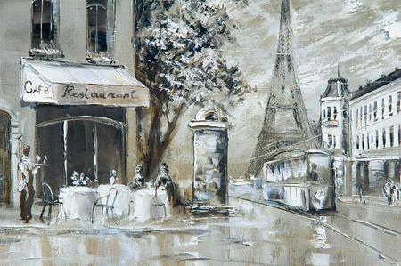 Textuur, achtergrond. Schilderen op doek geschilderd met olieverf. Het beeld schilderde scènes uit het leven van de stad Parijs