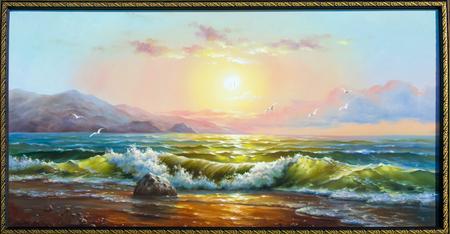 Textuur, achtergrond. Schilderen op doek geschilderd met olieverf. De foto getrokken door de zee. Sea storm. Transparante golven op zee. Mooie hemel roze zee.
