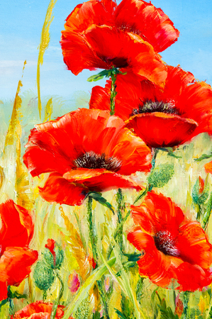 sap: Texture, pattern, canvas painted in oils. The picture painted poppies in loschadi field. a herbaceous plant with showy flowers, milky sap, and rounded seed capsules