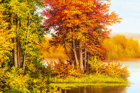 despacio: Texture, pattern, canvas painted in oils. The picture painted autumn on the lake, river, pond. golden trees. A beautiful time of the year. Inspiration for the artist Foto de archivo