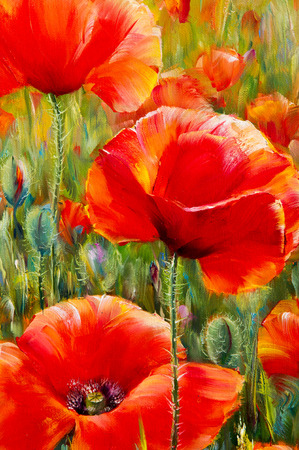 Texture, pattern, canvas painted in oils. The picture painted poppies a herbaceous plant with showy flowers, milky sap, and rounded seed capsules