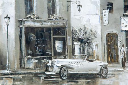 Textuur, achtergrond. Schilderen op doek geschilderd met olieverf. Het beeld schilderde scènes uit het leven van de stad Parijs Stockfoto - 61350304