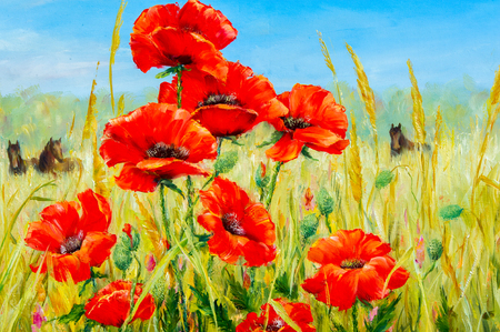 Texture, pattern, canvas painted in oils. The picture painted poppies in loschadi field. a herbaceous plant with showy flowers, milky sap, and rounded seed capsules