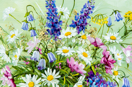 oil color: Texture, pattern, canvas painted in oils. It painted a picture of wild flowers collected in a bouquet. Wild flowers are in a vase. an attractively arranged bunch of flowers, Stock Photo