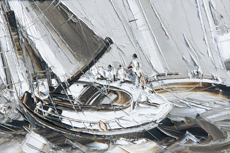 spinnaker: Texture, pattern, canvas painted in oils. The picture painted yacht with crew, at sea storm. pleasure boat