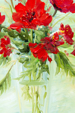 ocas: Texture, pattern, canvas painted in oils. It painted a picture of wildflowers A red collected in a bouquet. Wild flowers are in a vase. an attractively arranged bunch of flowers,