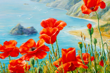 Texture, pattern, canvas painted in oils. The picture painted poppies on frne blue sea (ocean). a herbaceous plant with showy flowers, milky sap, and rounded seed capsules