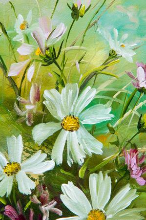 Textura, modelo, lienzo pintado al óleo. Se pintó un cuadro de flores silvestres recogidas en un ramo. flores silvestres están en un florero. un manojo de flores dispuestas de forma atractiva,
