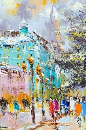 Textuur, achtergrond. Schilderij op doek geschilderd met olieverf. De foto schilderde scènes uit het leven van de oude stad Stockfoto