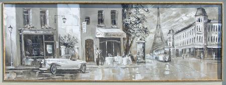 Textuur, achtergrond. Schilderen op doek geschilderd met olieverf. Het beeld schilderde scènes uit het leven van de stad Parijs Stockfoto - 61350471