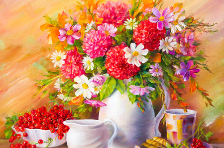 vase of flowers: Texture, pattern, canvas painted in oils. Drawn on a bouquet of flowers picture field, flowers in a white vase. Red currant. white saucers Stock Photo
