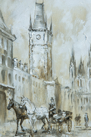 Texture, background. Painting on canvas painted with oil paints. The picture painted scenes from the life of the old town