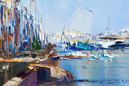 aushärten, Hintergrund. Malerei auf Leinwand mit Ölfarben bemalt. Das Bild malte Jetty Jahr. Das Bild gemalt Boot, Straße, die, Autos, Menschen