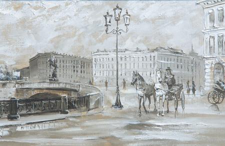 Textuur, achtergrond. Schilderen op doek geschilderd met olieverf. Het beeld schilderde scènes uit het leven van de stad Parijs Stockfoto - 61350897