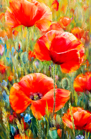 sap: Texture, pattern, canvas painted in oils. The picture painted poppies a herbaceous plant with showy flowers, milky sap, and rounded seed capsules