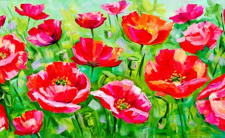 Textuur, achtergrond. Schilderij op doek geschilderd met olieverf. De foto getekend door een veld met papavers bloemen. Papavers groeien in het veld