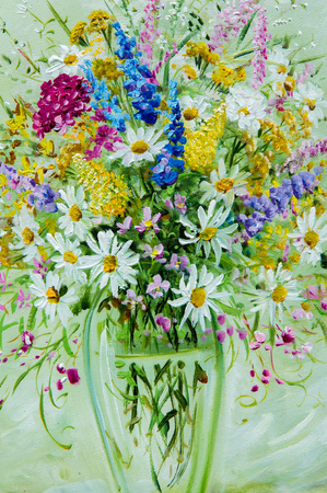 vase of flowers: Texture, pattern, canvas painted in oils. It painted a picture of wild flowers collected in a bouquet. Wild flowers are in a vase. an attractively arranged bunch of flowers, Stock Photo
