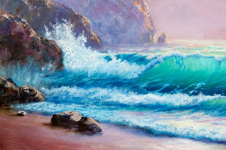 Texture, background. Painting on canvas painted with oil paints. The picture drawn by the sea. Sea storm. Transparent waves on the sea. Beautiful sky pink sea.