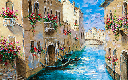 Texture, background. Painting on canvas painted with oil paints. The picture painted Vinec. Seaport. Stockfoto
