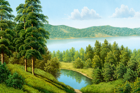 pinewood: Texture, pattern, canvas painted in oils. Drawn in the picture Summer river, sunny day, Pinewood Stock Photo