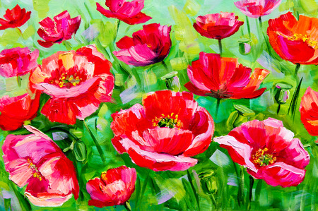 Texture, background. Painting on canvas painted with oil paints. The picture drawn by a field of poppies flowers. Poppies growing in the field