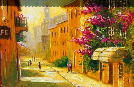 Textura, fondo. Pintura sobre lienzo pintado con pintura al óleo. Las escenas de las imágenes pintadas de la vida de la ciudad vieja Foto de archivo
