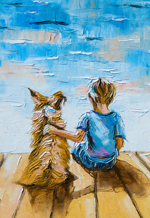 painted dog: Texture, pattern, canvas painted in oils. The painting is painted a boy with a dog sitting on the shore of the lake
