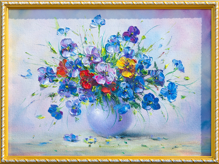 vase of flowers: Texture, pattern, canvas painted in oils. The picture painted flowers in a vase, me-nots, poppies. Wildflowers