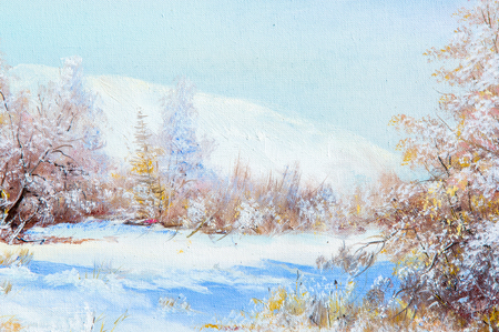 snow forest: Texture, background. Painting on canvas painted with oil paints. The painting is painted the first snow falling on the trees in the forest