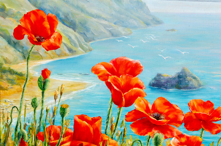 sap: Texture, pattern, canvas painted in oils. The picture painted poppies on frne blue sea (ocean). a herbaceous plant with showy flowers, milky sap, and rounded seed capsules
