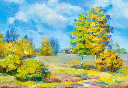 Textuur, achtergrond. Schilderij op doek geschilderd met olieverf. De foto is geschilderd in het dorp Fall