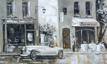 Texture, background. Painting on canvas painted with oil paints. The picture painted scenes from the life of the city of Paris Standard-Bild