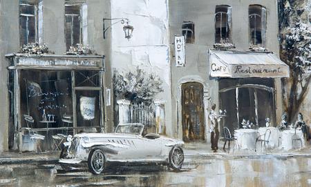 Textuur, achtergrond. Schilderen op doek geschilderd met olieverf. Het beeld schilderde scènes uit het leven van de stad Parijs Stockfoto