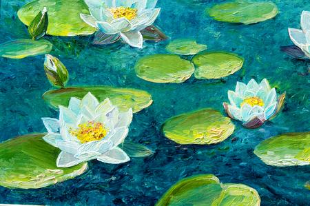 Textuur, achtergrond. Schilderen op doek geschilderd met olieverf. Het beeld lelie geschilderd mengen op het meer
