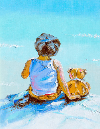 painted dog: Texture, background. Painting on canvas painted with oil paints. The picture drawn by a boy sitting on the beach (lake) with a boy sitting next to dog