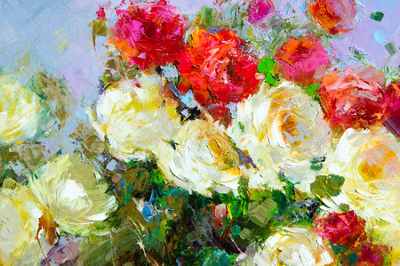 Texture, background. Painting on canvas painted with oil paints. The picture painted early spring, blooming peonies