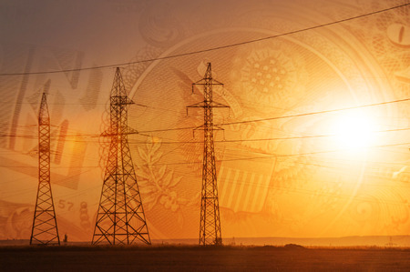 us dollars: High-voltage power transmission line. Energy pillars. At sunset, dawn. high-tension. U.S. dollars Stock Photo