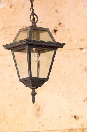 Texture, background. Lantern in Cova under glass lampshade