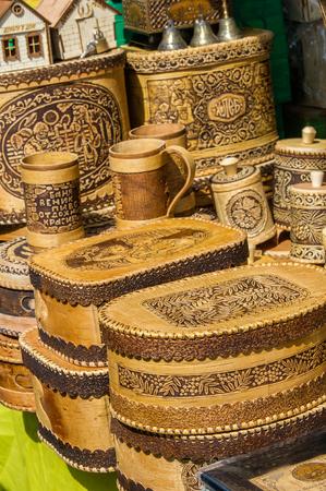 birchbark: texture, background. Handicrafts made of birch bark. On the product it is written: honey, sugar, flour, salt, coffee. the impervious bark of the North American paper birch, Betula papyrifera, used,