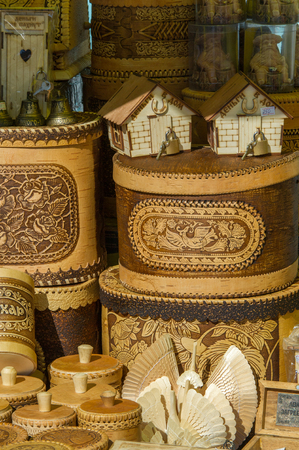 birchen: texture, background. Handicrafts made of birch bark. On the product it is written: honey, sugar, flour, salt, tea, coffee. the impervious bark of the North American paper birch, Betula papyrifera, used,